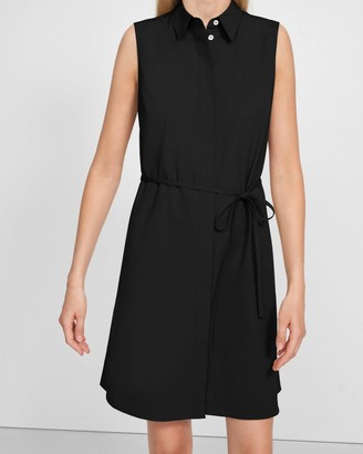 Theory Sleeveless Belted Shirtdress in Stretch Cotton
