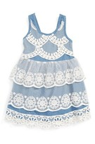 Baby Sara Infant Girl's Tiered Lace & Chambray Dress