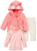 Nannette Baby Girls' 3-Pc. Faux Fur Owl Hoodie, Top & Velour Leggings Set
