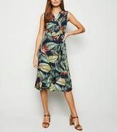 New Look Mela Tropical Leaf Wrap Midi Dress