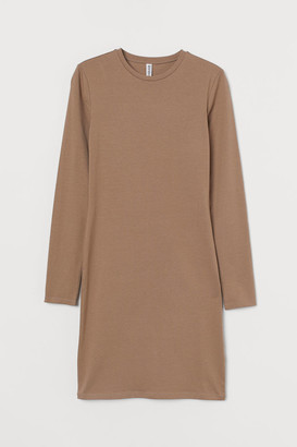 H&M Long-sleeved Bodycon Dress - Brown