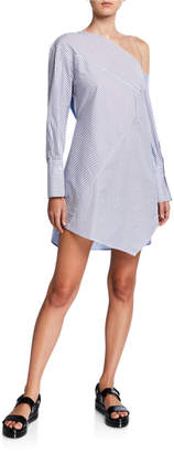 3.1 Phillip Lim Striped Patchwork One-Shoulder Tunic Dress