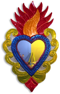 Esquipulas - Large Blue and Red Metal Ex Voto Heart with Flames Mirror - metal | Blue Red