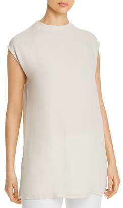 Eileen Fisher Silk Funnel-Neck Tunic Top