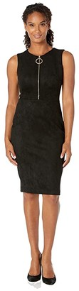 Calvin Klein Zipper Front Sheath Dress (Black) Women's Dress