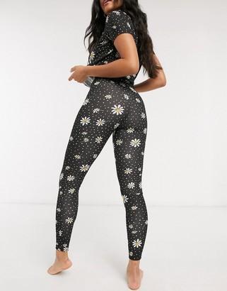 ASOS DESIGN mix & match daisy print pyjama legging in black
