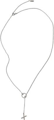 ADORNIA White Rhodium Plated Sterling Silver Diamond XO Charm Lariat Necklace
