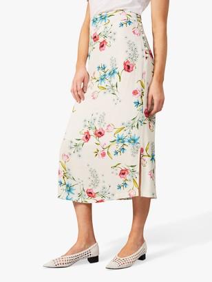 Phase Eight Natyla Floral Midi Skirt, Ivory