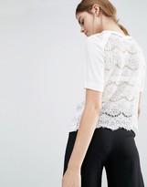 Suncoo Lace Back Silk T-Shirt