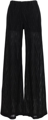 M Missoni Lurex Cotton Blend Knit Wide Leg Pants
