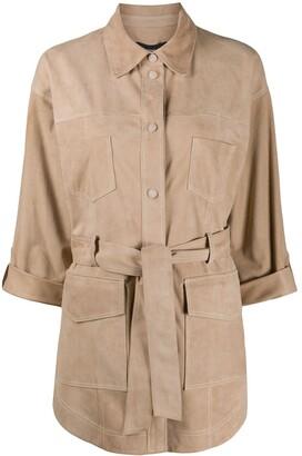 Arma Tie-Waist Patch-Pocket Jacket