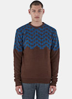 Men's Geometric Hairy Knit Sweater In Brown And Blue €595