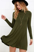 LuLu*s Sway, Girl, Sway! Olive Green Swing Dress