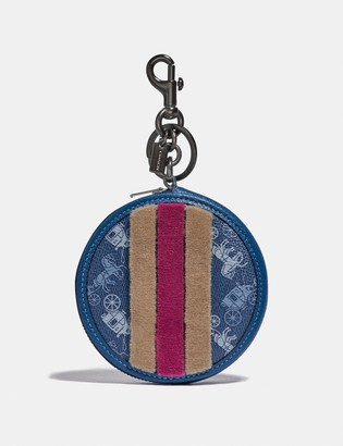 Coach Coin Purse Bag Charm With Horse And Carriage Print And Varsity Stripe