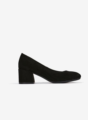Evans EXTRA WIDE FIT Black Block Heel Court Shoes