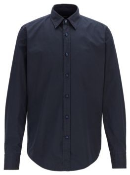 Regular-fit shirt in cotton canvas with dot print