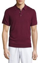 Neiman Marcus Short-Sleeve Cashmere-Silk Polo Shirt, Wine