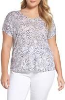 Nic+Zoe Plus Size Women's Beach Dots Linen Blend Top