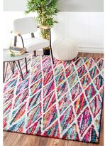 nuLoom Contemporary Rainbow Striped Trellis Multi Kids Rug (9' x 12')