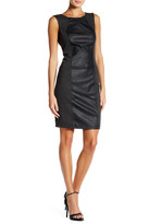 Blanc Noir Perforated Faux Leather Sheath Dress