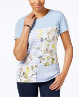 Karen Scott Mixed-Print T-Shirt, Only at Macy's