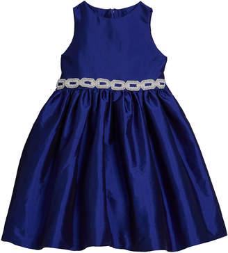 Susanne Lively Girl's Matte Sateen Dress w/ Beaded Waist Trim, Size 4-6X