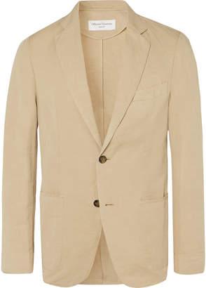 Officine Generale Tan Slim-Fit Unstructured Garment-Dyed Cotton And Linen-Blend Suit Jacket