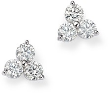 Roberto Coin 18K White Gold Three Stone Cluster Diamond Stud Earrings