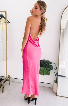 Beginning Boutique Give It Time Slip Midi Dress Pink