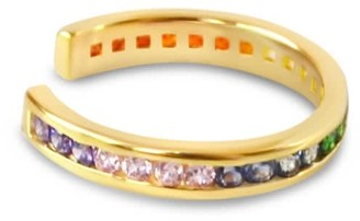 Glamrocks Jewelry Rainbow Pave Ear Cuff- Gold