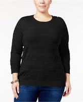 Karen Scott Plus Size Jacquard Sweater, Only at Macy's
