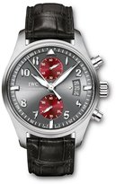 IWC Men's 43mm Black Leather Band Steel Case Sapphire Crystal Automatic Grey Dial Analog Watch IW387810