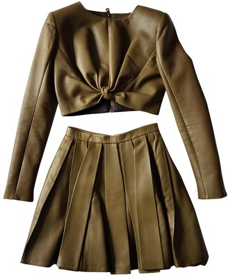 Balmain Khaki Leather Dress for Women