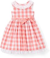 Laura Ashley Coral & White Gingham Sleeveless Dress - Infant & Girls