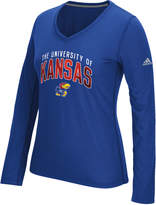 adidas Women's Long-Sleeve Kansas Jayhawks Sunlight Camo T-Shirt