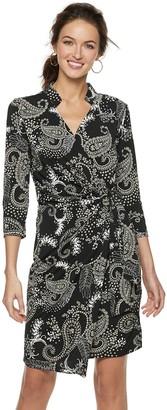 Women's Nina Leonard Print Faux-Wrap Dress