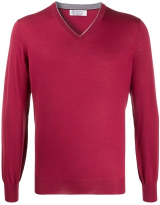Brunello Cucinelli V-neck fine knit jumper