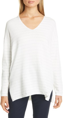 Lafayette 148 New York Metallic Stripe Sweater