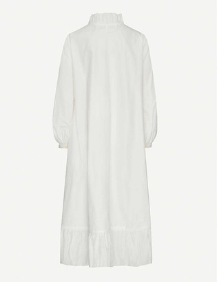 Renli Su Frilled cotton and silk-blend midi dress