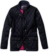 Charles Tyrwhitt Women's Semi-Fitted Navy Quilted Long Sleeve Synthetic Coat Size 6