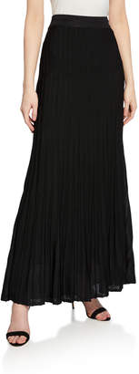 St. John Engineered Ottoman Plisse Knit Maxi Skirt