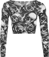 WearAll Women's Print Long Sleeve Crop Top - US 8-10 (UK 12-14)