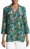 Lafayette 148 New York Fran 3/4-Sleeve Santa Clara Palm Seersucker Blouse, Multi