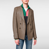Paul Smith Men's Tailored-Fit Camel-Wool Blend Double-Breasted Houndstooth Blazer