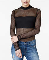 Material Girl Juniors' Long-Sleeve Mesh Bodysuit, Created for Macy's
