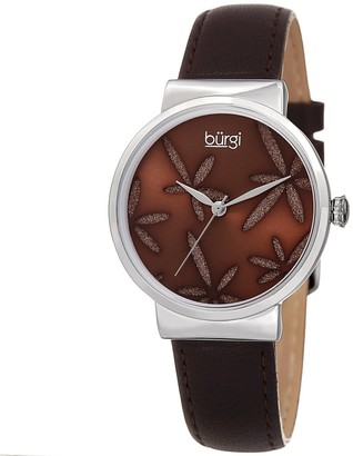 Burgi Ladies Sparkling Floral Brown Leather Strap Watch