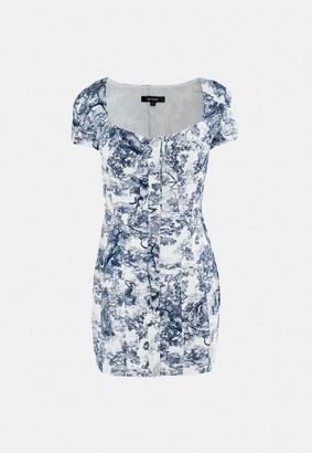 Missguided Blue Porcelain Print Stretch Denim Mini Dress