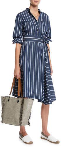 Brunello Cucinelli Pinstriped-Poplin Midi Shirtdress