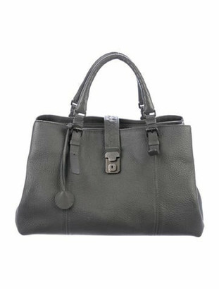 Bottega Veneta Intrecciato-Trimmed Roma Handle Bag Grey