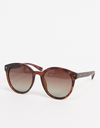 Polaroid Polariod round sunglasses in tortoise shell